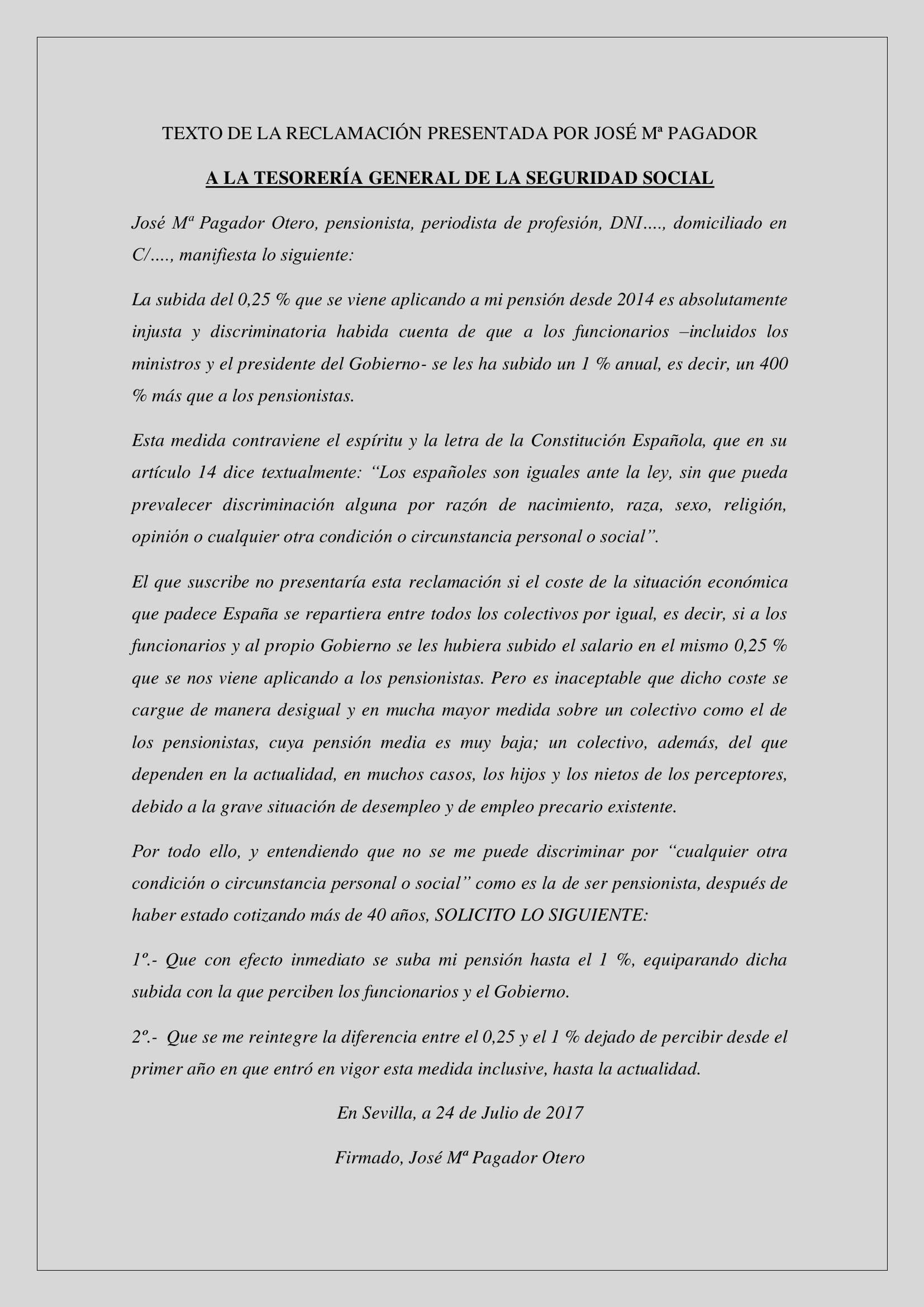 TEXTO DE LA RECLAMACIÓN PRESENTADA POR JOSÉ Mª PAGADOR