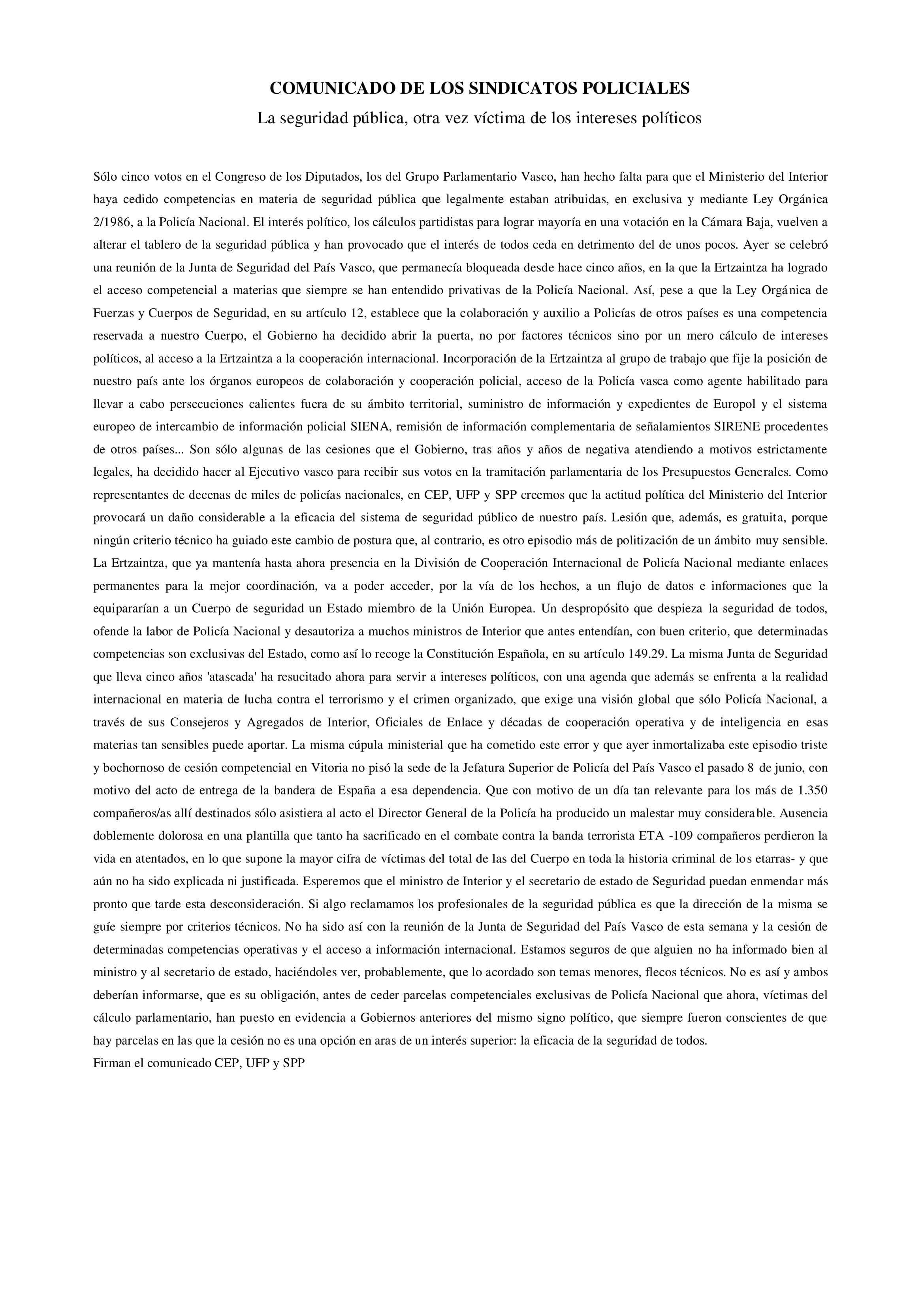 COMUNICADO DE LOS SINDICATOS POLICIALES