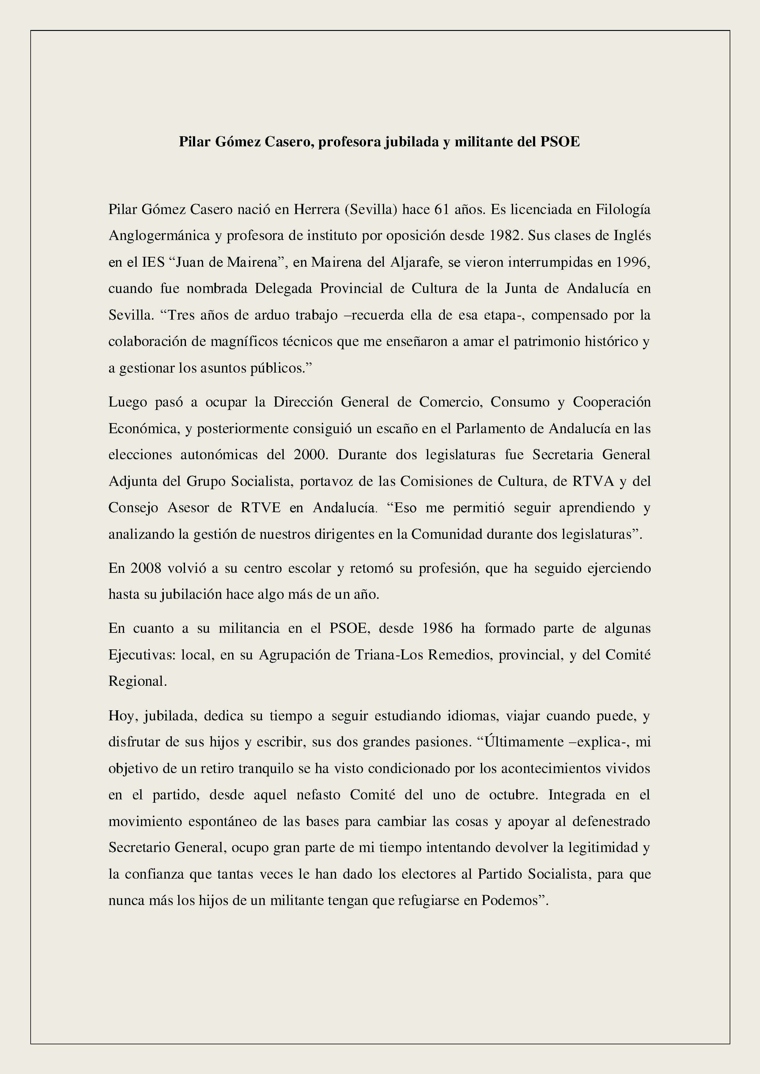 CV Pilar Gómez Casero