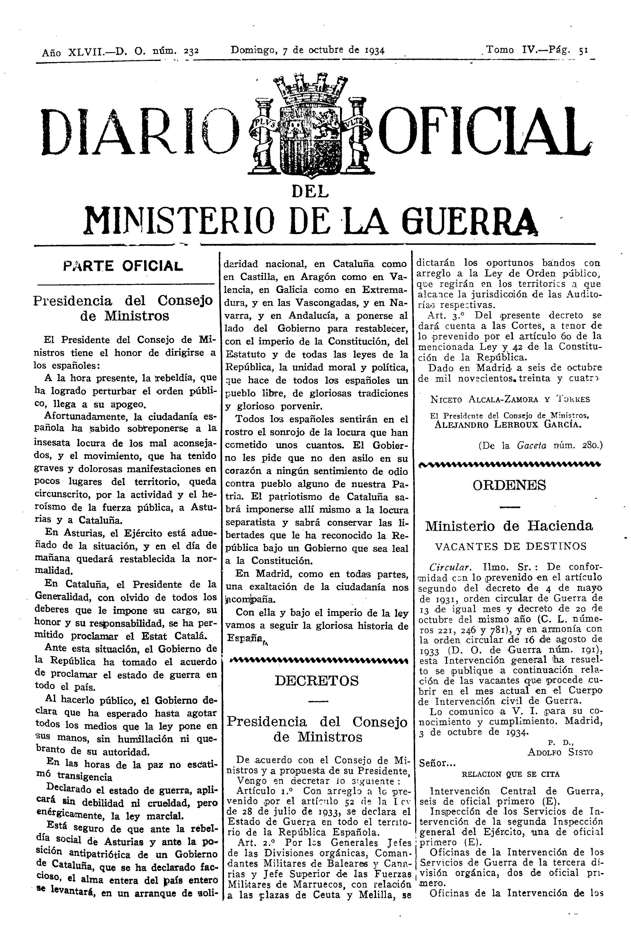 Diario Oficial del Ministerio de la Guerra - 7 de octubre de 1934