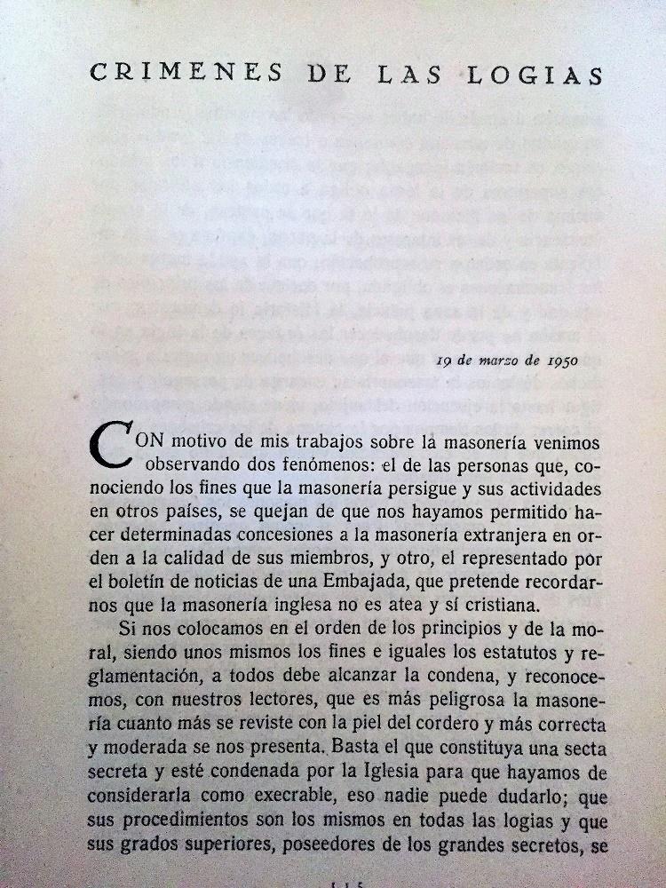 Página del libro con un artículo sobre los supuestos crímenes de las logias.