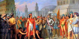Representación idealizada del encuentro de Cortés con Moctezuma