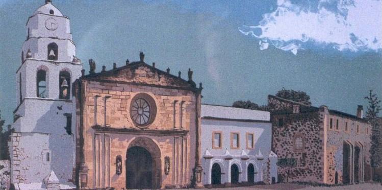 El lugar de la exposición. Serigrafía de Rodrigo Tavera. Convento de Tiripetio. 770x392.