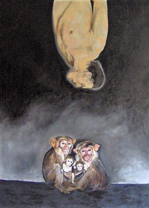 Familia de monos. Óleo-lino 200x150. 2008