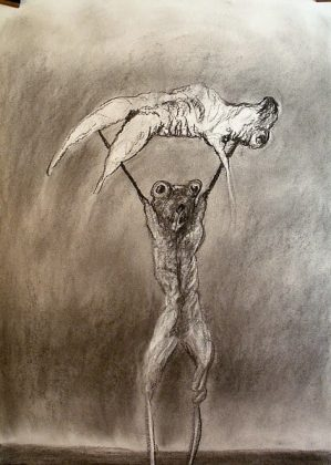 Hércules y Anteo. Carboncillo-papel 70x50 2013