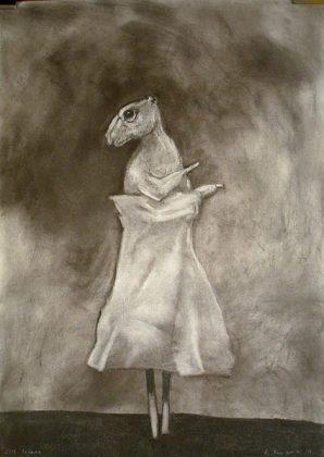 La ratita presumida. Carboncillo y pigmento-papel 70x50. 2013