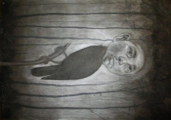 Sirena. Pigmento y carboncillo-papel 70X50. 2013