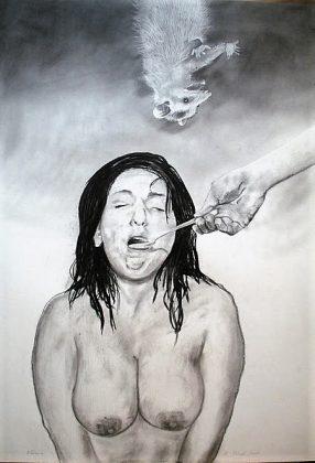 Sopa. Lápiz y carboncillo-papel 100x70. 2011