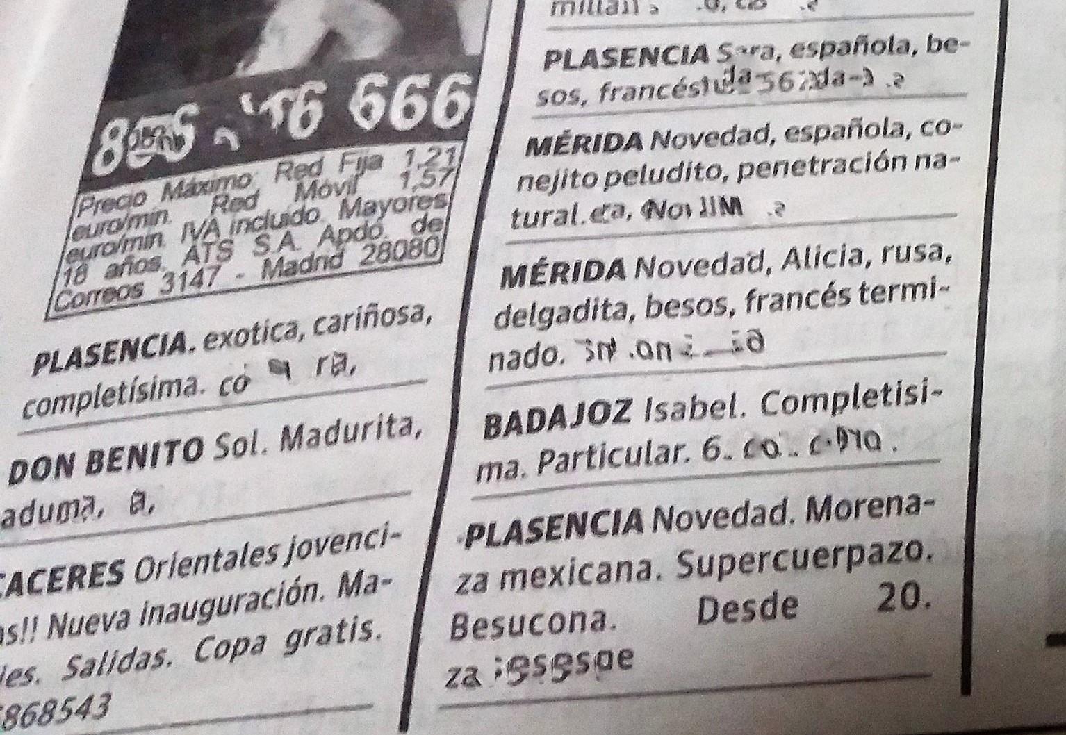 Un periódico digno no puede publicar este tipo de anuncios.