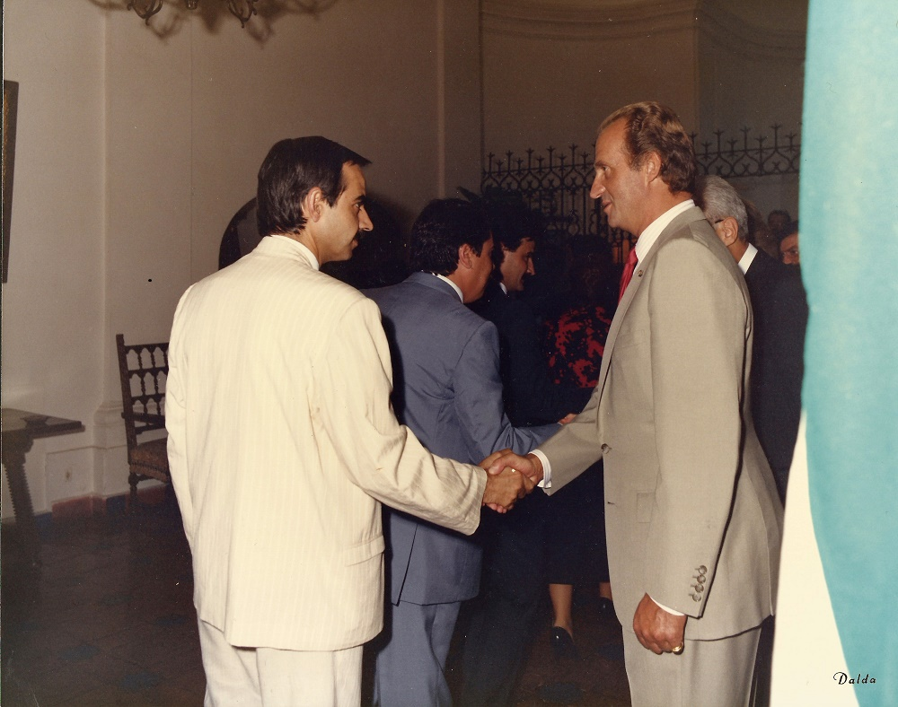 Con el rey Juan Carlos, en 1986.