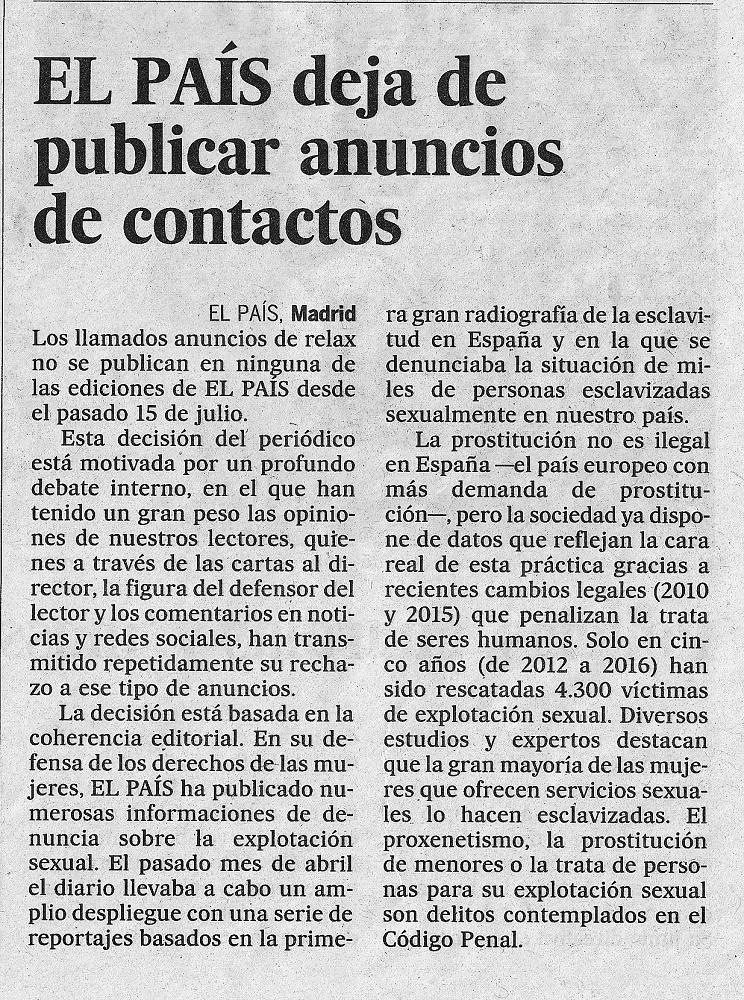 El País renunció recientemente a financiarse con anuncios de prostitución, como informa en este suelto.