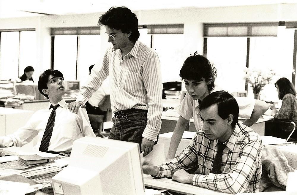 En 1992, en La Gaceta de los Negocios. Gregorio es el primero por la derecha.