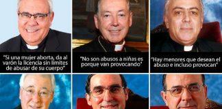 De izquierda a derecha y arriba abajo, obispos de Granada, Lima, Tenerife, Alcalá de Henares, Barcelona y Canarias. DIARIO PÚBLICO