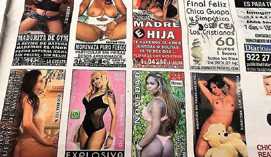 Degradantes anuncios de prostitución actuales en un periódico español.