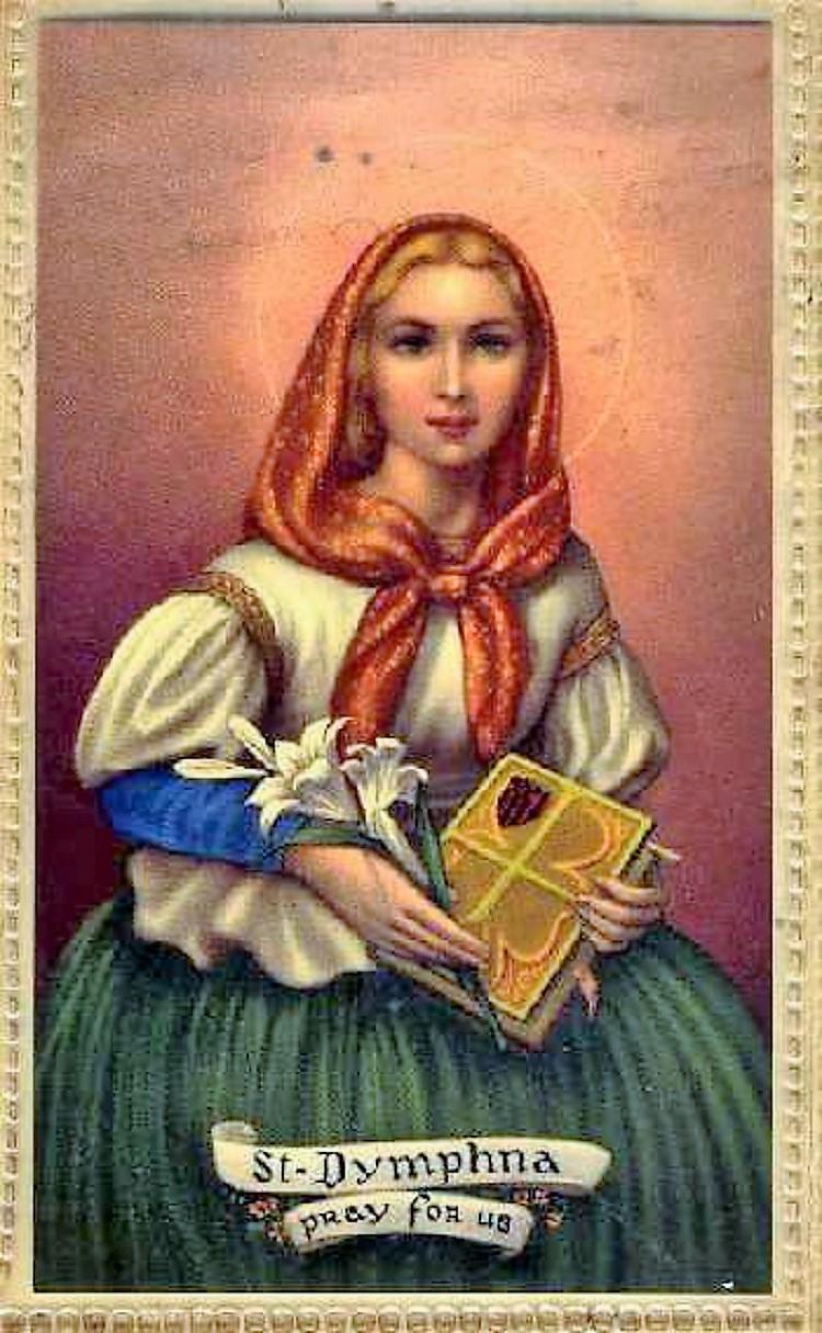 Santa Dimfna, a la que se atribuye la capacidad de curar a los enfermos mentales.