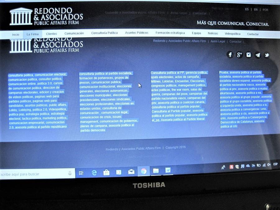 Captura de pantalla de la web de Iván Redondo, con las falsedades a que se alude en este artículo. PROPRONews