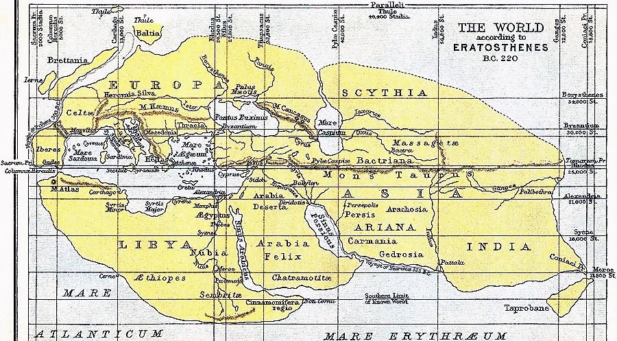Mapa de Eratóstenes. Grecia-220 a. C.