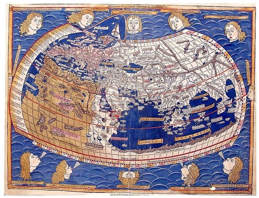 Mapamundi de la Cartographia de Ptolomeo. BIBLIOTECA NACIONAL