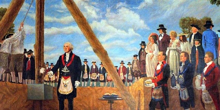 Recreación de la época de la ceremonia original con George Washington