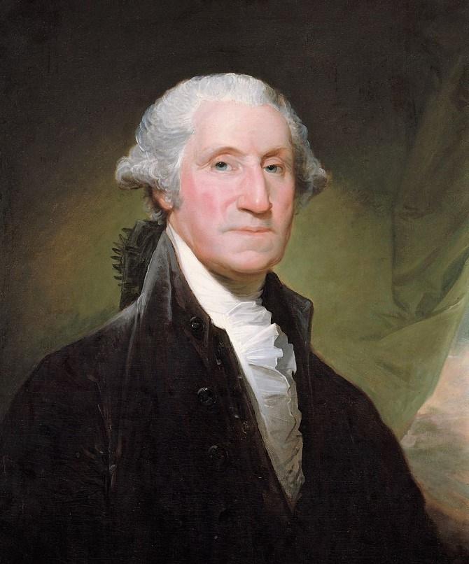 George Washington retratado por Gilbert Stuart.