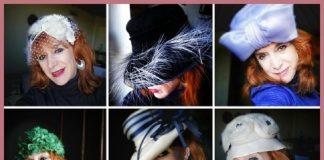 Nuestra colaboradora, posando como una verdadera modelo profesional, con algunos de los sombreros hallados en Orvieto.