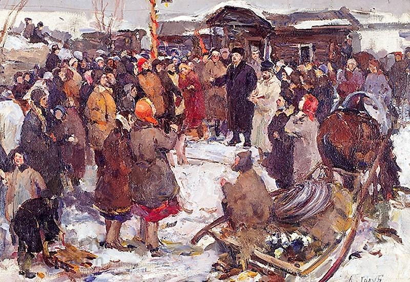 Lenin con la gente de Golub, una de las obras de la colección, de un gran valor documental.