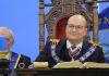 El nuevo líder de la masonería mundial, en su reelección como Gran Maestro de la Gran Logia de España. GLE