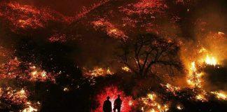 Estos dos bomberos ante el gigantesco incendio representan la carencia de medios estatales de EE.UU. para proteger a los ciudadanos. RTVE