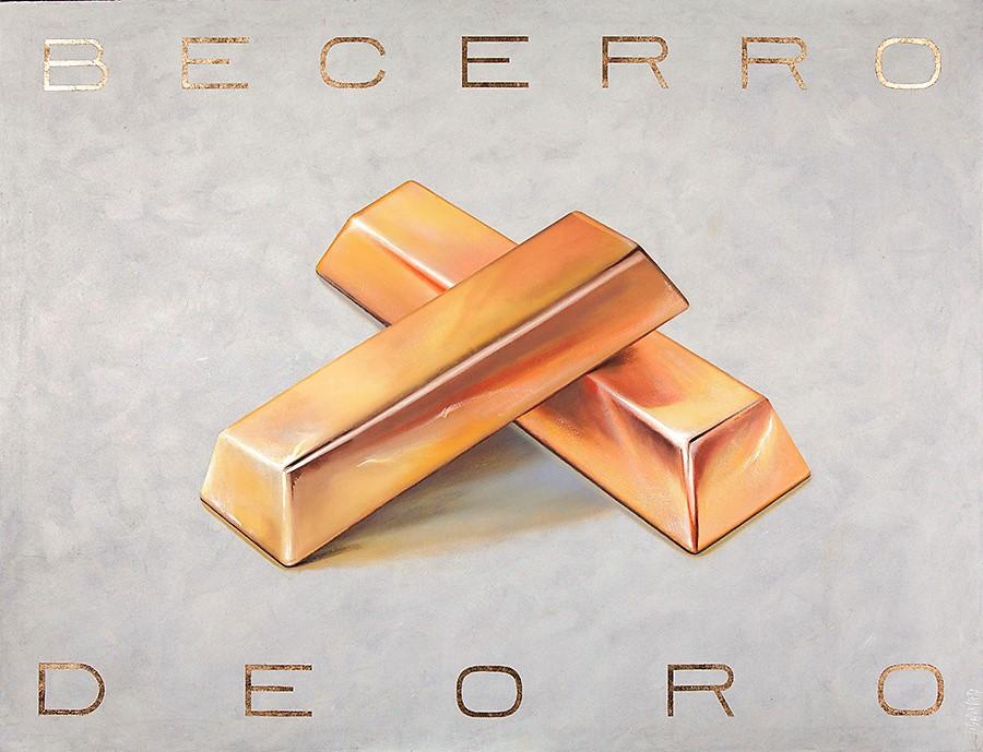 BECERRO DE ORO. Pan de oro, óleo y pasta acrílica sobre lienzo. 120x154