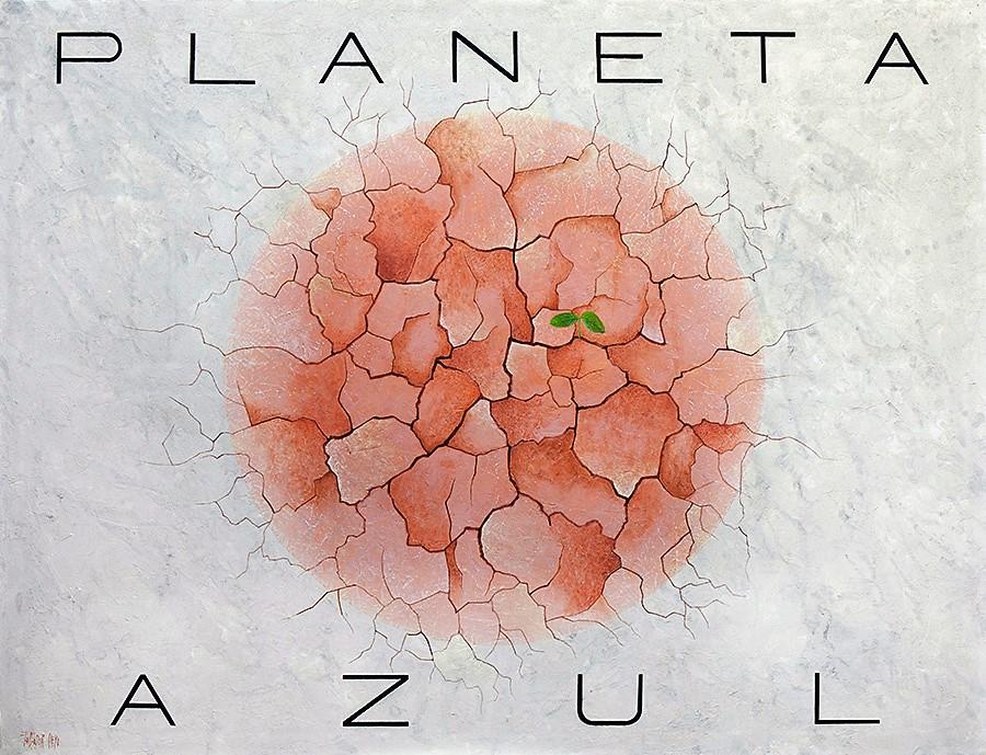PLANETA AZUL. Técnica mixta y pasta acrílica sobre lienzo. 120x154 cm.
