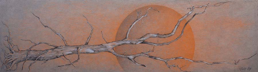 OCASO. Grafíto, lápiz color y tiza sobre tabla. 35x125 cm.