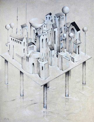 PANORAMA DE AGUA. Grafíto y tiza sobre lienzo. 154x120 cm.