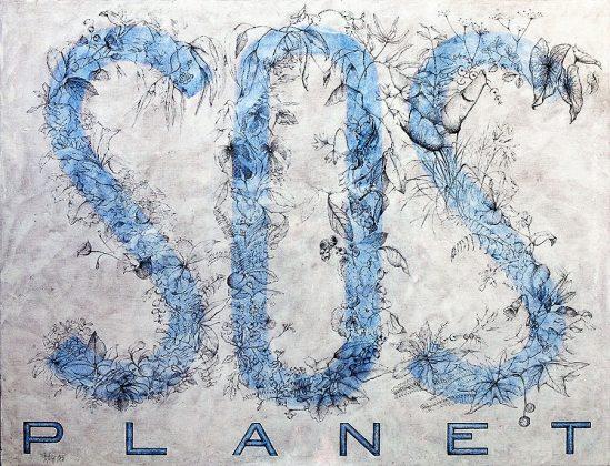 S.O.S. PLANET. Grafíto, lápiz color y pasta acrílica sobre lienzo. 120x154.