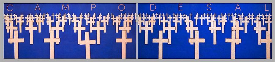 CAMPO DE SAL. Díptico. Pigmento, arenas y acrílico sobre lienzo. 80x400 cm.