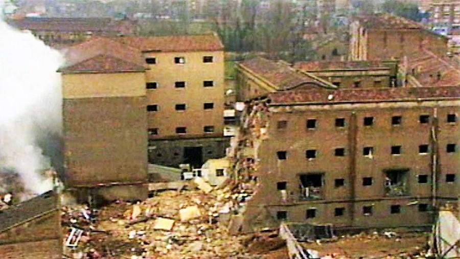 Casa cuartel de la Guardia Civil de Zaragoza tras el atentado. RTVE.