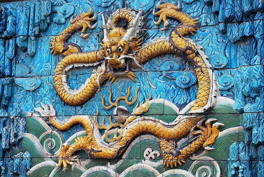 Dragón en un mural de la Ciudad Prohibida. J.M. PAGADOR