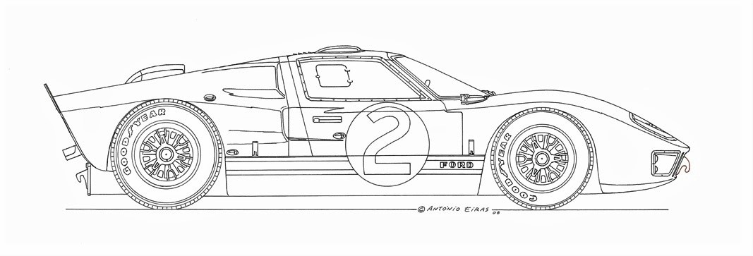 2 Ford GT40 1966 china ink c