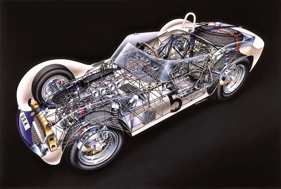 Maserati Birdcage 61 del equipo de Camoradi, pilotado por Stirling Moss y Dan Gurney, ganador de los 1.000 km. de Nürburgring 1