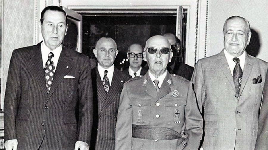 Perón, de visita en España, con Franco.