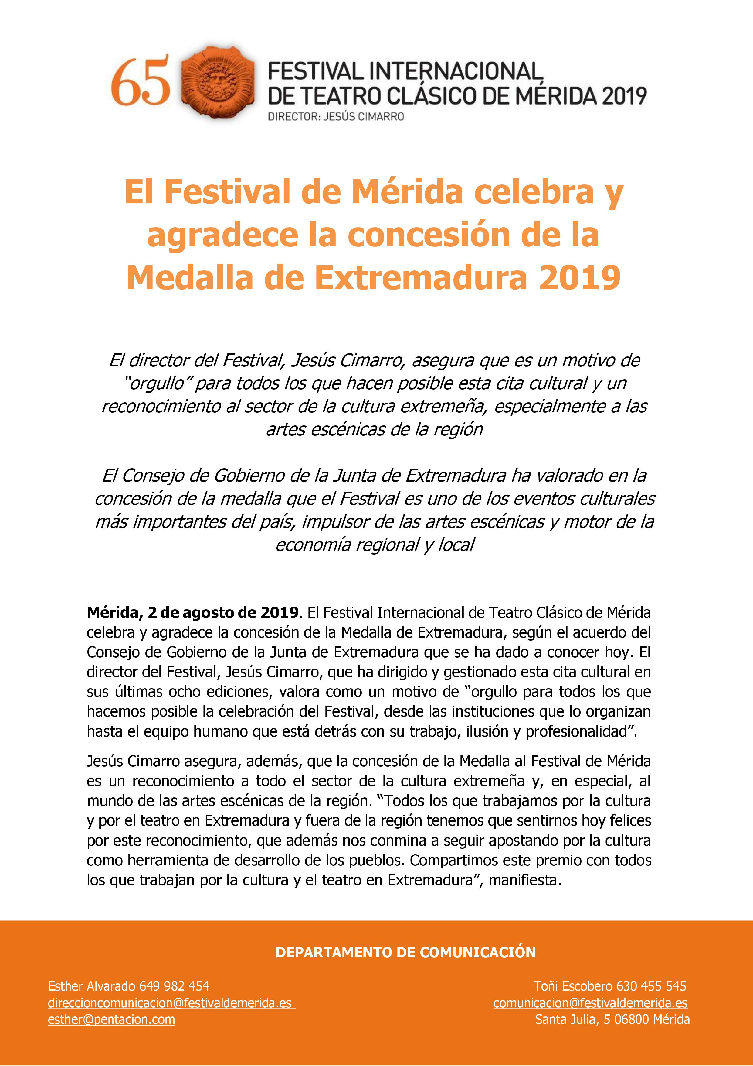 Agradecimiento Medalla Festiva Mérida.