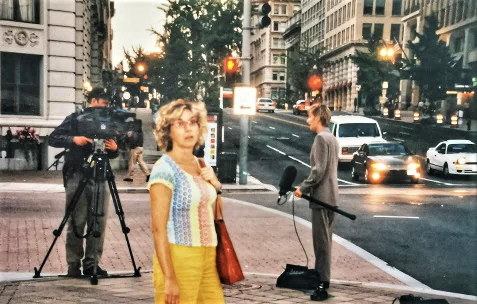 Elisa Blázquez en Nueva York el 11-S, informando del atentado.