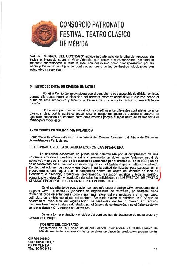 Página del pliego de condiciones que contiene otra cláusula favorable a Cimarro.