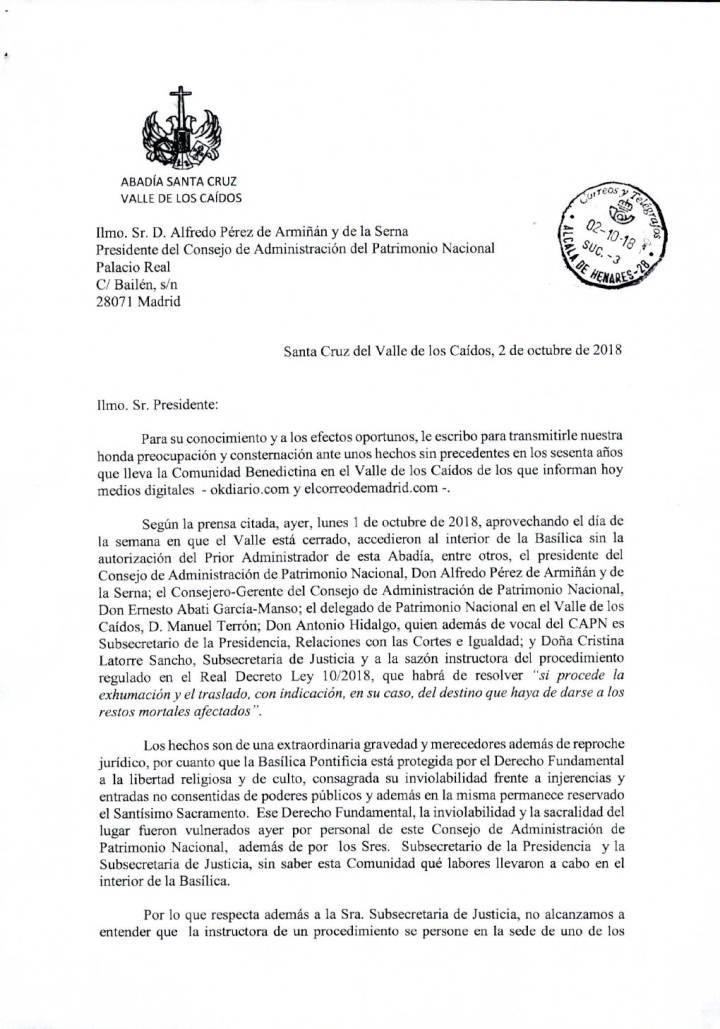 Carta del prior al presidente del Patrimonio Nacional, con el preceptivo tratamiento.