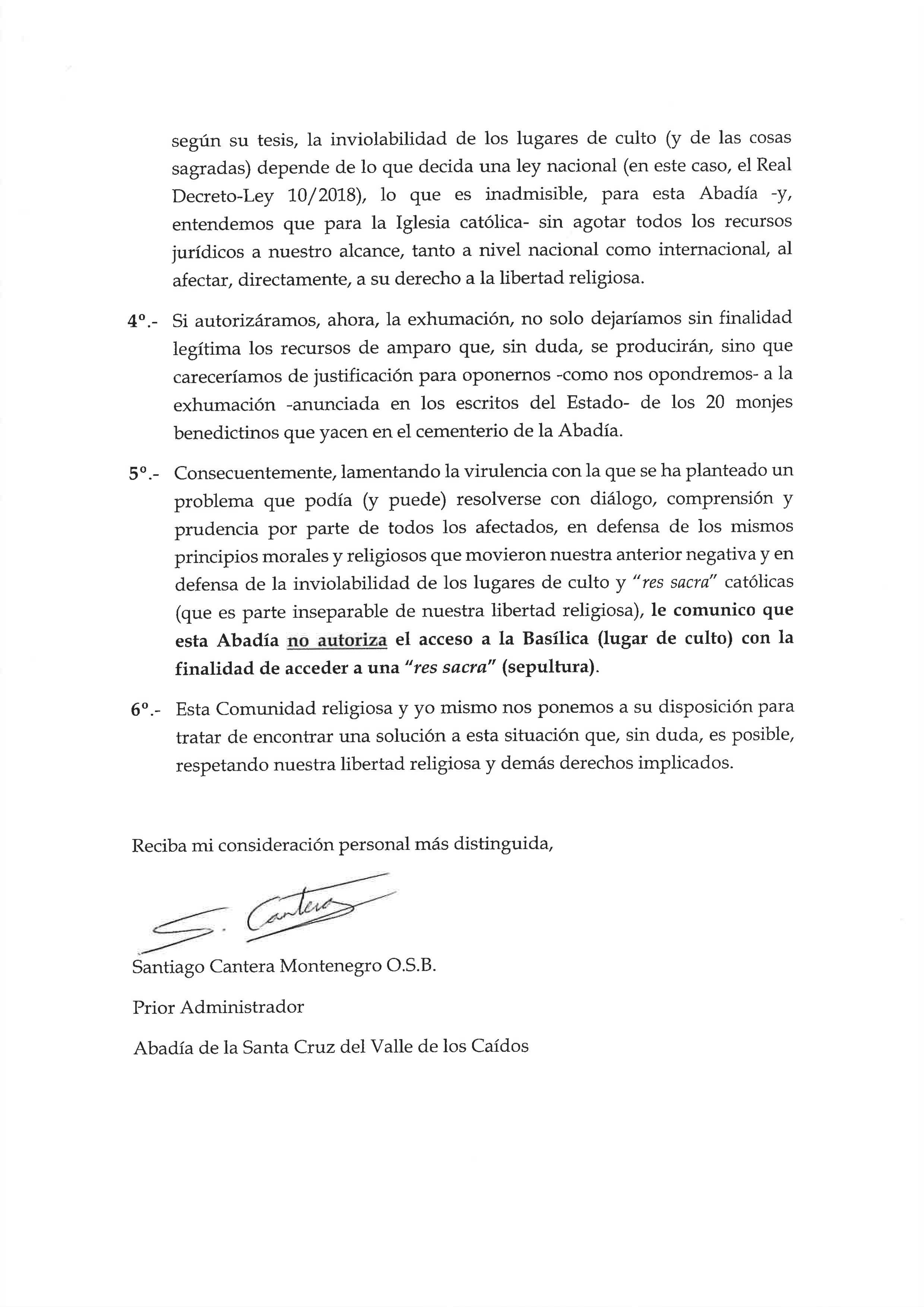 Folio 2 de la carta del prior a la vicepresidenta del Gobierno.