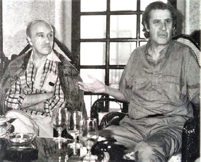 José Monleón y Francisco Nieva, invitados por el primer Festival de 1983 a participar en las actividades paralelas.