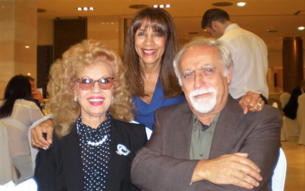 Rosa Morena, Lydia C. Salsedo y Villafaina, en la cena de un acto cultural.