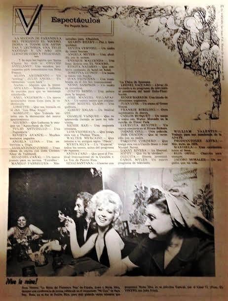 Rosa Morena y Villafaina, en las páginas de un periódico de Puerto Rico de hace casi 5 décadas.