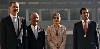 Los reyes, con el presidente de Portugal y el alcalde de Oporto, promotor de Iberolux. RTVE