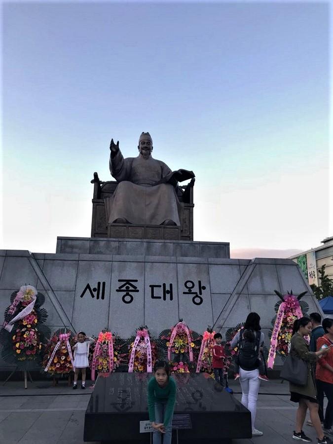 El Rey Sejong el Grande, el inventor del alfabeto coreano, muy querido porsu pueblo.
