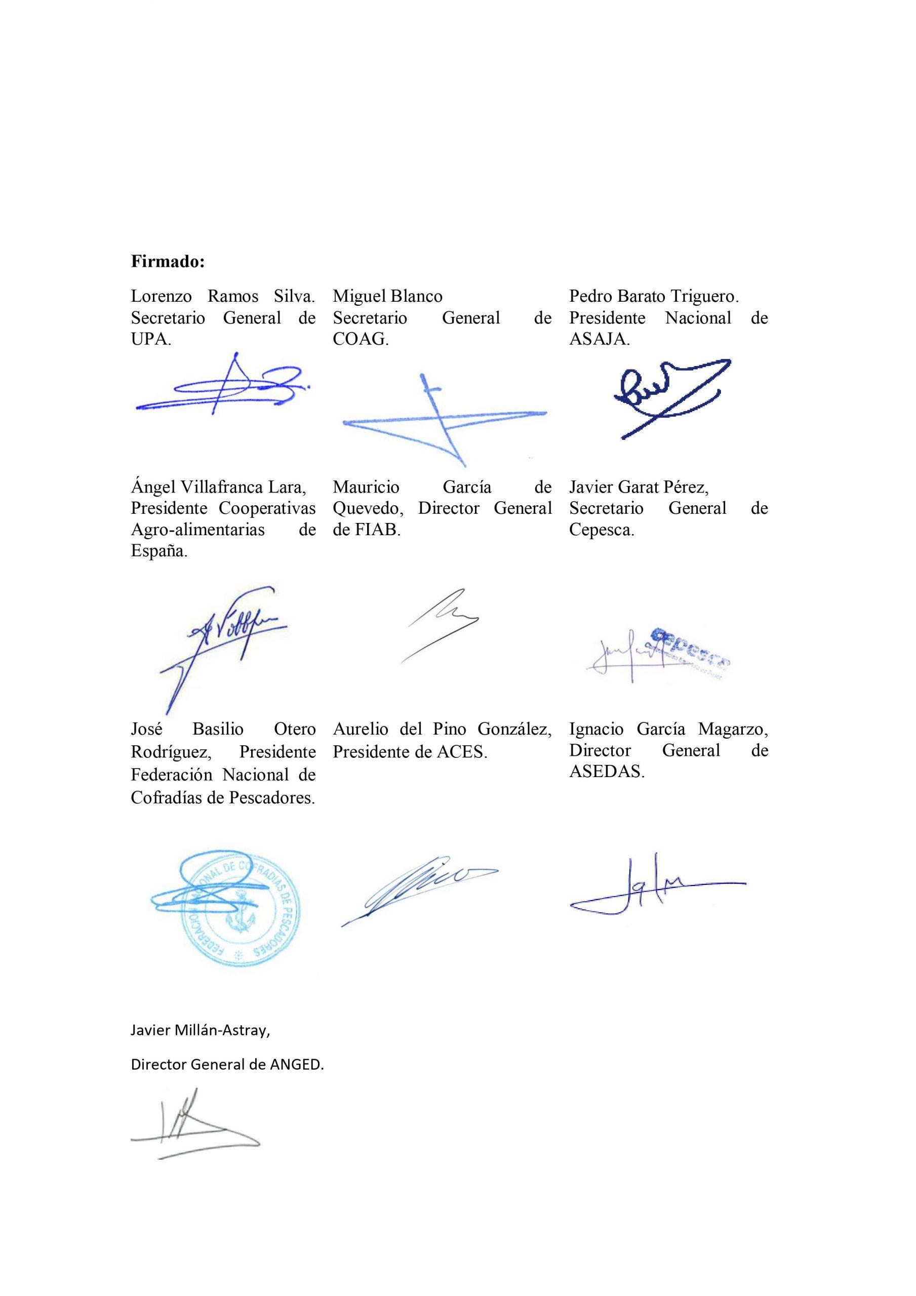 CARTA DE APOYO DE LAS ORGANIZACIONES AGRARIAS AL PROGRAMA AGROSFERA